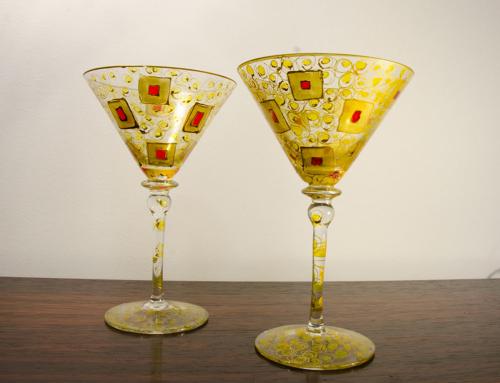 Coppia di calici vetro di Murano