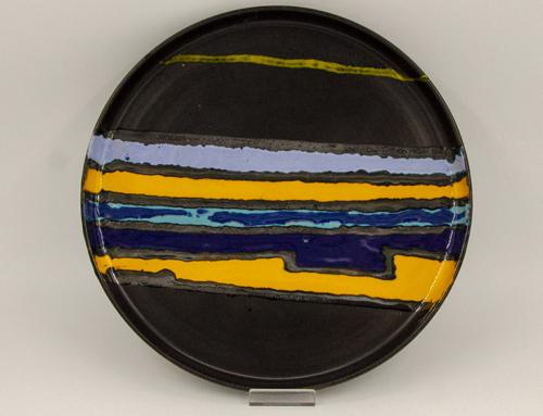 Piatto ceramica smaltata anni '60